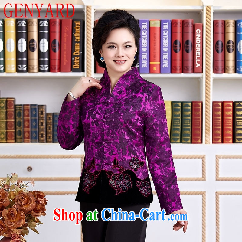 Qin Qing store new Chinese female spring China wind improved Han-T-shirt improved stylish embroidered dress long-sleeved purple XXXL
