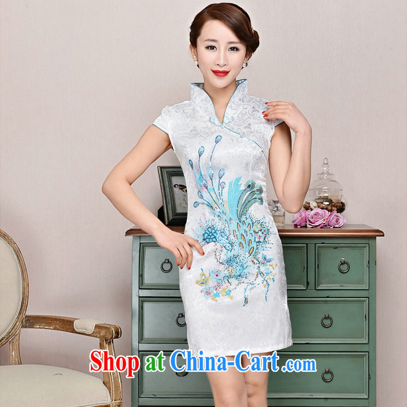 2015 summer new ultra-baik CB in 1582 long jacquard silk and cotton robes white Phoenix orchids XXL