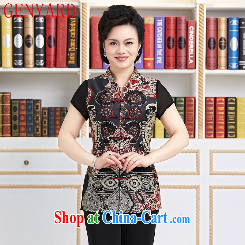 Deloitte Touche Tohmatsu sunny store Ethnic Wind girls with Chinese women, Chinese Antique summer-tie short-sleeved improved cheongsam shirt black XXXL