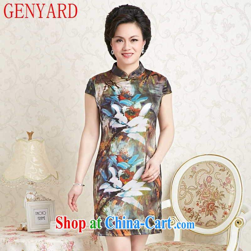 Qin Qing store cheongsam Stylish retro 2015 New Beauty stretch Satin cheongsam dress stretch Satin cheongsam qipao day color XXXL