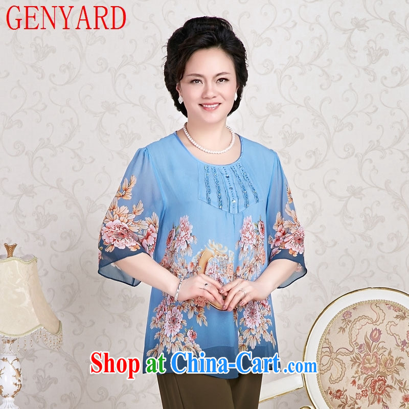 Qin Qing store sauna silk hand-painted T-shirt, older women summer mother load long-sleeved T-shirt half sleeve blue XXXL