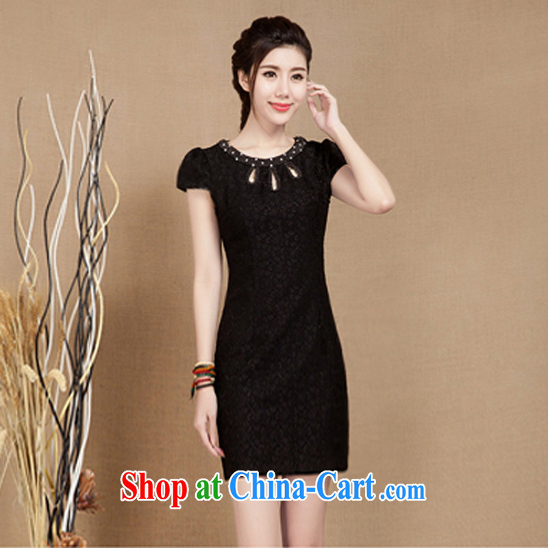 Water spirit seed 2015 summer New Classic improved short cheongsam dress lace nails Pearl short-sleeve dress girls black XXL