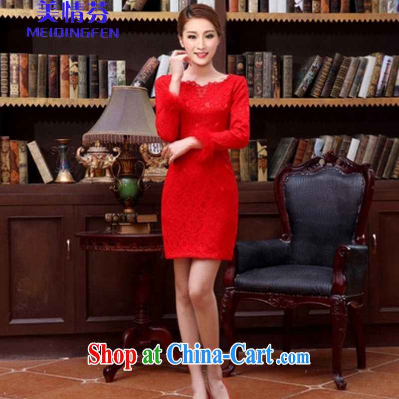 US, 6636 _bridal wedding dress retro improved stylish summer short, red bows clothes qipao cheongsam dress long-sleeved M