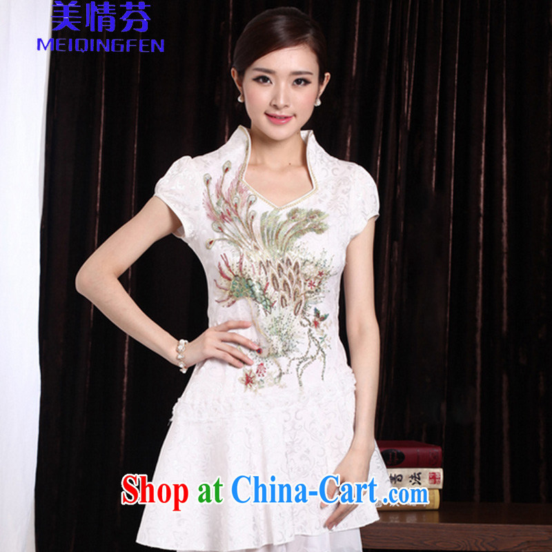 US, 2014 sexy lace retro female Phoenix TV embroidery summer wear cheongsam dress improved stylish outfit _1120 Golden Phoenix XL