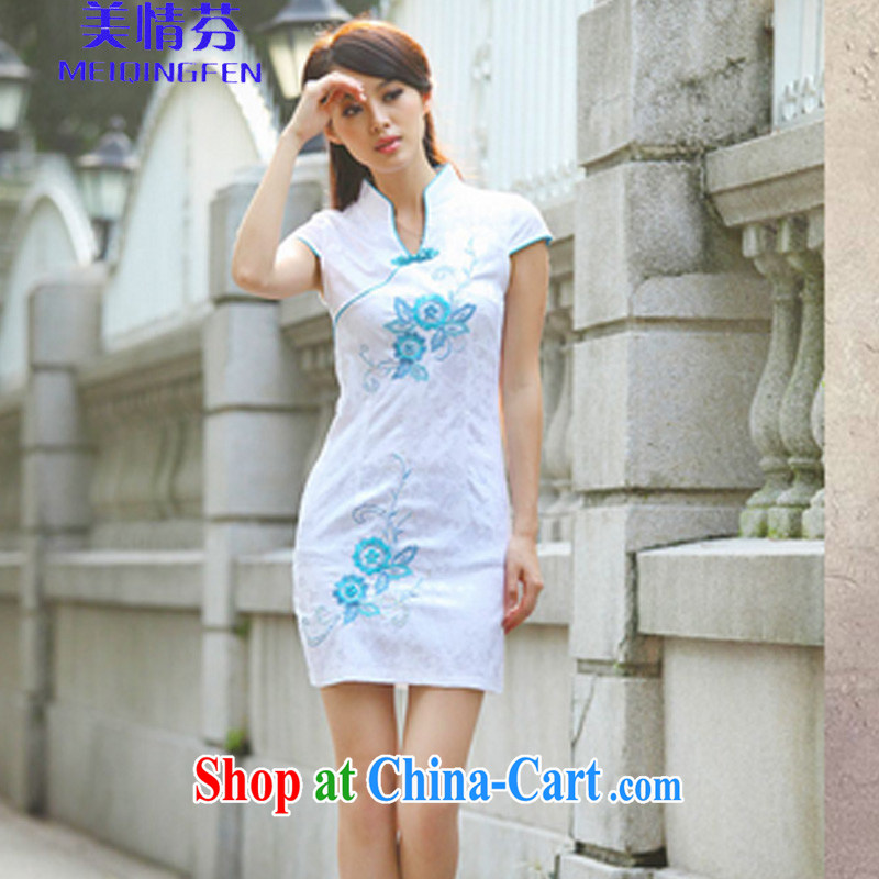 The US AND STEPHEN A 6913 _beauty summer short-sleeved qipao idyllic wind new cheongsam Chinese improved stylish flag blue XL