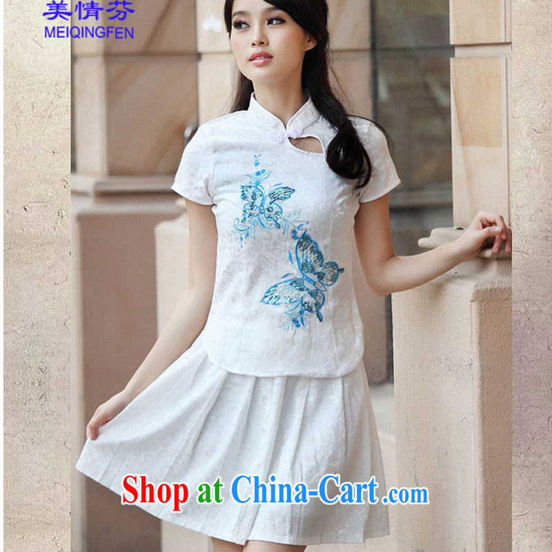 US STEPHEN A #6908 summer new, genuine goods package elegant retro fresh Chinese to Butterfly cheongsam dress blue XL