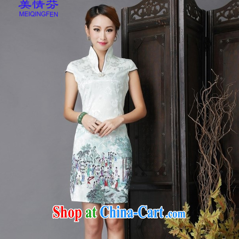 US, 2015 national style in a new, Chinese style improved Daily Beauty sexy cheongsam dress 6635 _light green XL