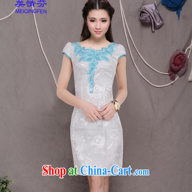 US, 2015 new retro Beauty Fashion improved cheongsam dresses daily dress 6073 #blue XL