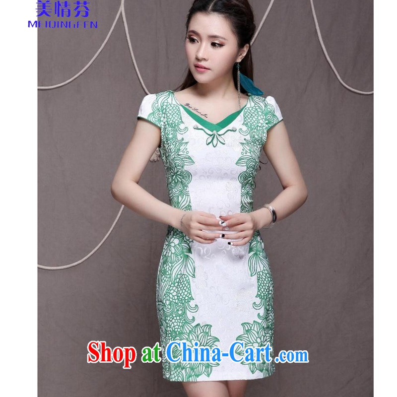 US, 9912 _high-end Ethnic Wind stylish Chinese qipao dress retro beauty graphics thin cheongsam green XL