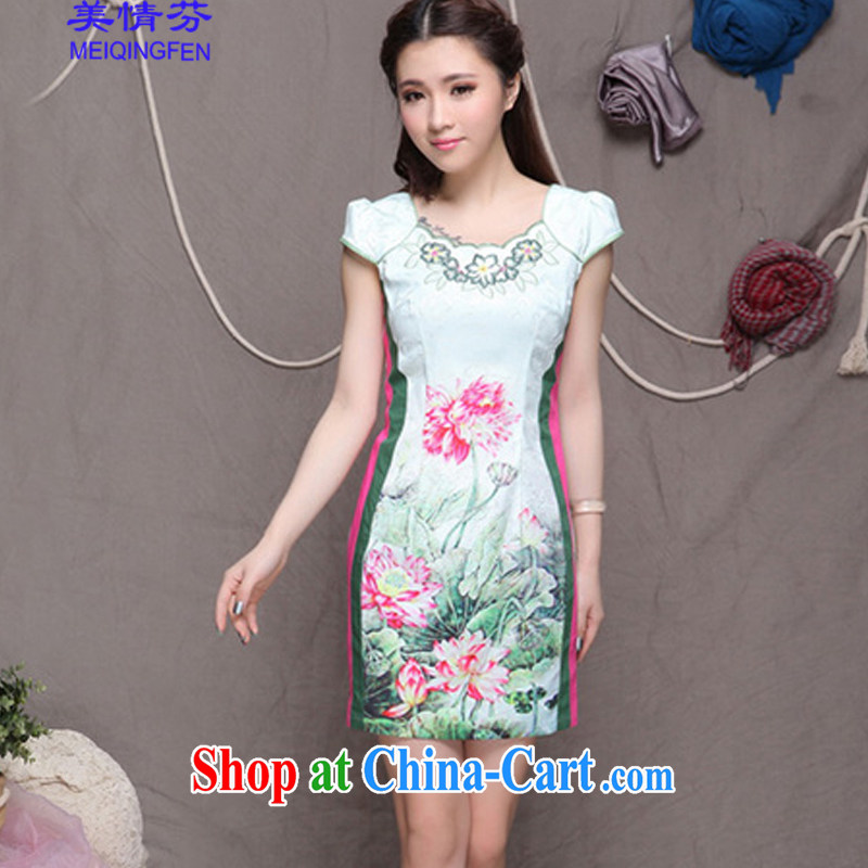 US, 9909 #China wind stylish Ethnic Wind and refined improved cheongsam dress elegance picture color XL