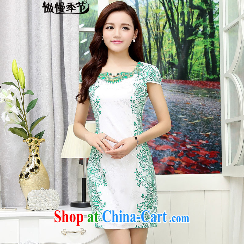 Arrogant season summer 2015 new toast clothing blue and white porcelain wedding dresses dress bridesmaid banquet improved cheongsam female white and green XXL