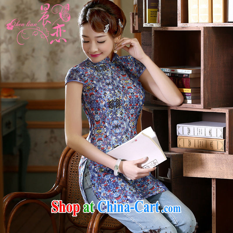 Morning dresses, new summer retro short improved stylish Chinese qipao shirt short-sleeved European root yarn embroidered blue XXL