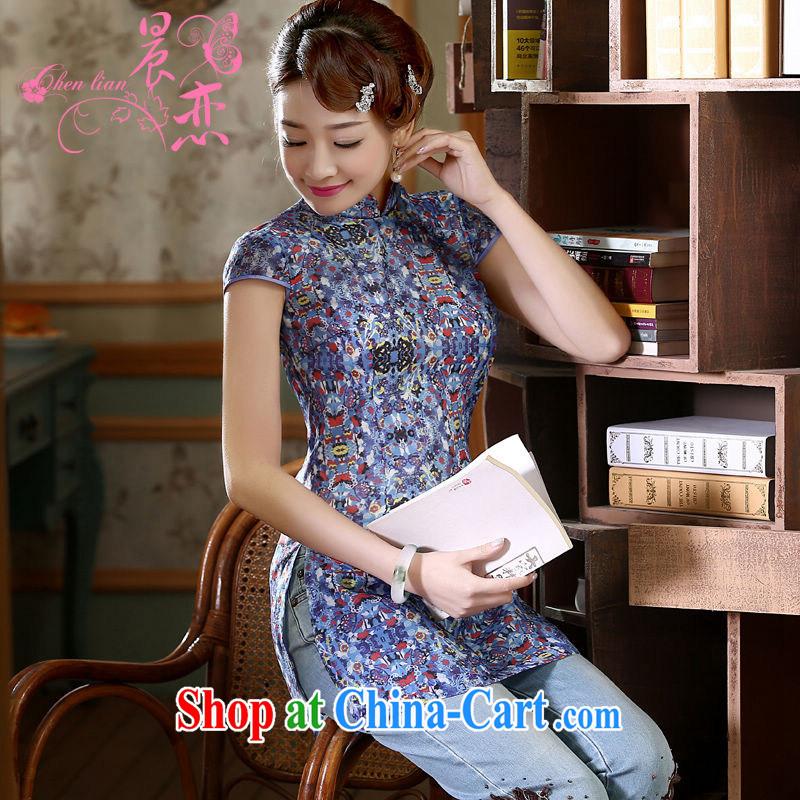 Morning dresses, new summer retro short improved stylish Chinese qipao shirt short-sleeved European root yarn embroidered blue XXL