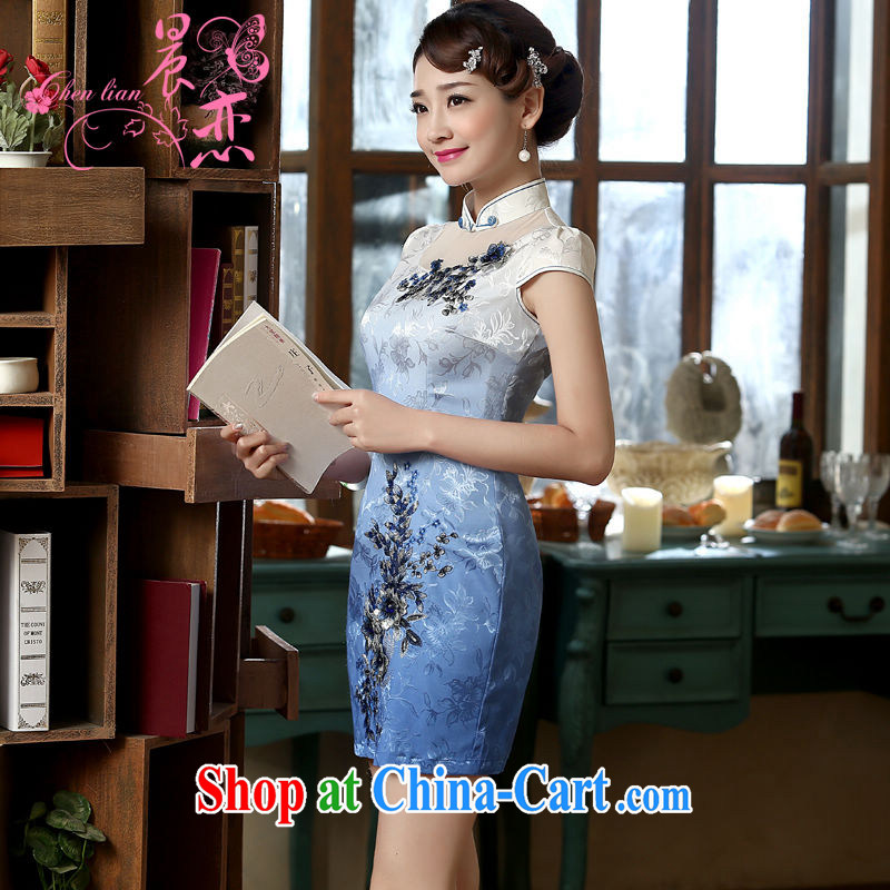 Morning dresses, new summer retro short improved stylish Chinese qipao gradient blue three-dimensional flower embroidery light blue XXL