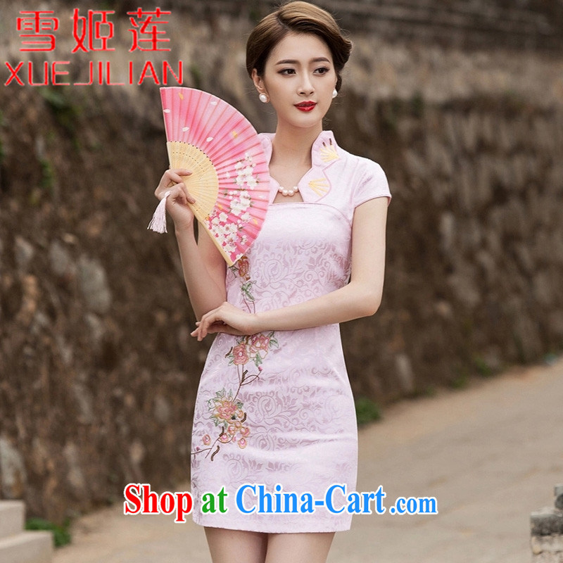 Hsueh-Chi Lin Nunnery 2015 new summer fashion improved cheongsam dress daily video thin beauty dresses short dresses #1122 pink XL