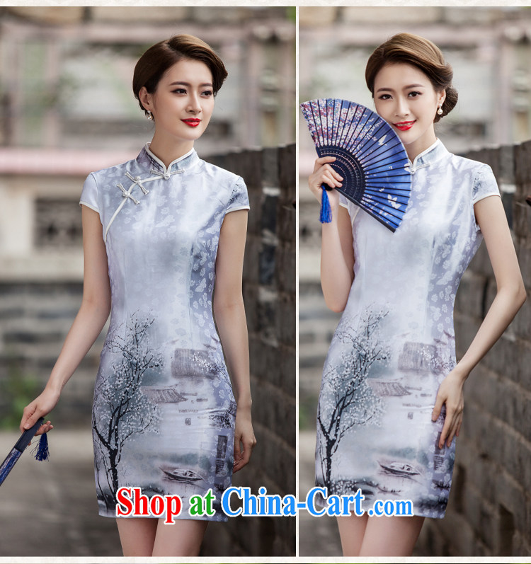 Hsueh-chi Lin 2015 new painting classic short-sleeved cheongsam dress retro fashion China Daily outfit #1107 Chinese Painting (landscape), XL pictures, price, brand platters! Elections are good character, the national distribution, so why buy now enjoy more preferential! Health