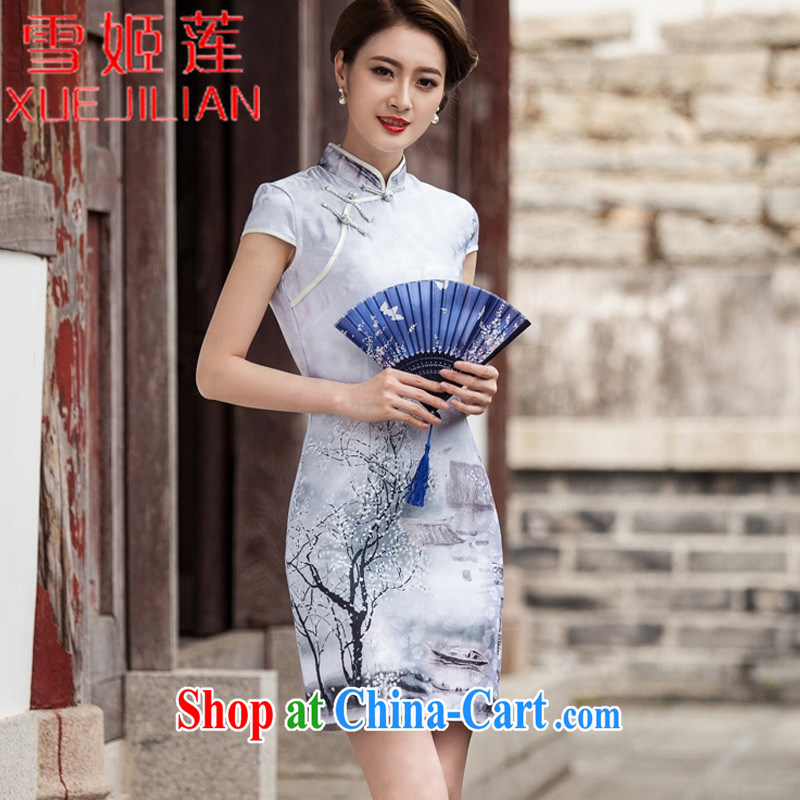 Hsueh-Chi Lin Nunnery 2015 new painting classic short-sleeved qipao dress retro fashion China wind daily outfit #1107 Chinese Painting (landscape), XL