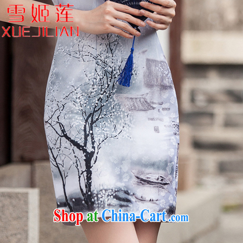 Hsueh-chi Lin 2015 new painting classic short-sleeved cheongsam dress retro fashion China Daily outfit #1107 Chinese Painting (landscape), XL, Hsueh-chi Lin (XUEJILIAN), shopping on the Internet