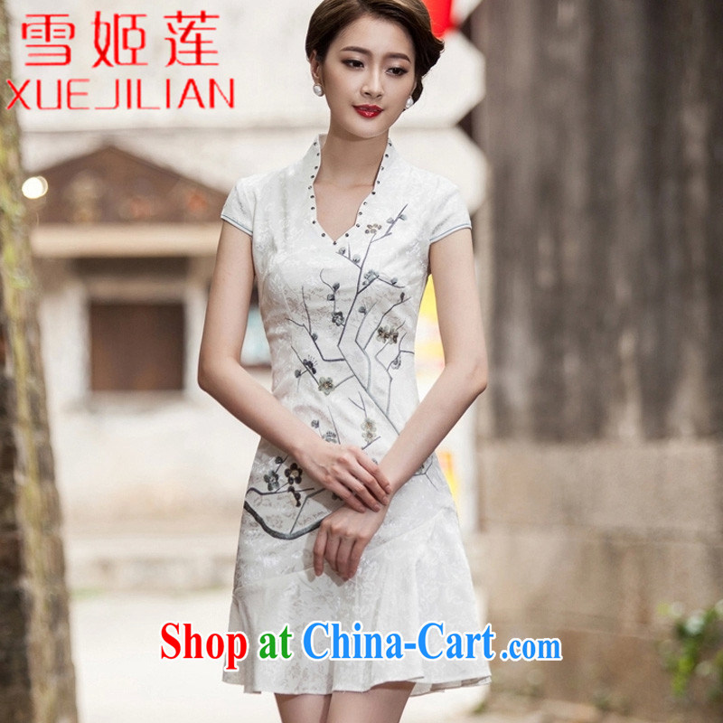 Hsueh-Chi Lin Nunnery 2015 spring and summer new short-sleeved V collar embroidered Phillips nails Pearl crowsfoot skirt with embroidery short dresses #1123 white XL
