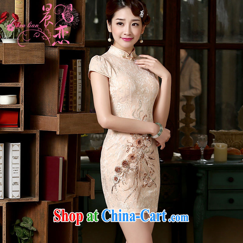Early Morning, spring 2015 new stylish improved retro stereo take rust cheongsam dress gorgeous salmon short meat pink XXL
