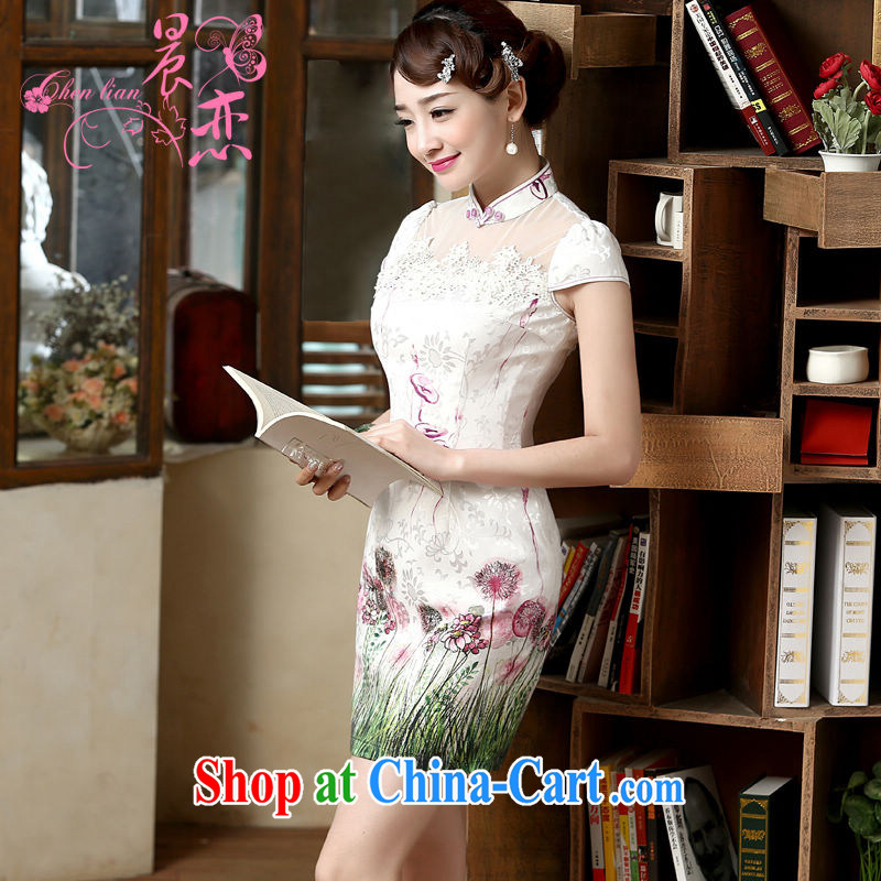 Morning, 2015 new summer fashion improved retro short cheongsam dress with short two-color pure green XXL