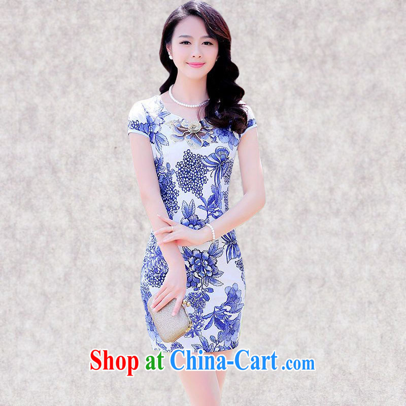 Constitution, take a short dresses and summer 2015 new daily improved ladies cultivating correct round-collar suit stylish package and dress 8056 Blue on white flower XXL