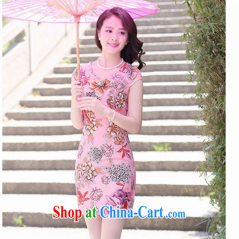 Spring cicada female fashion short dresses and summer 2015 new, improved day-lady is surrounded with floral package and dress of 8056 saffron XXL