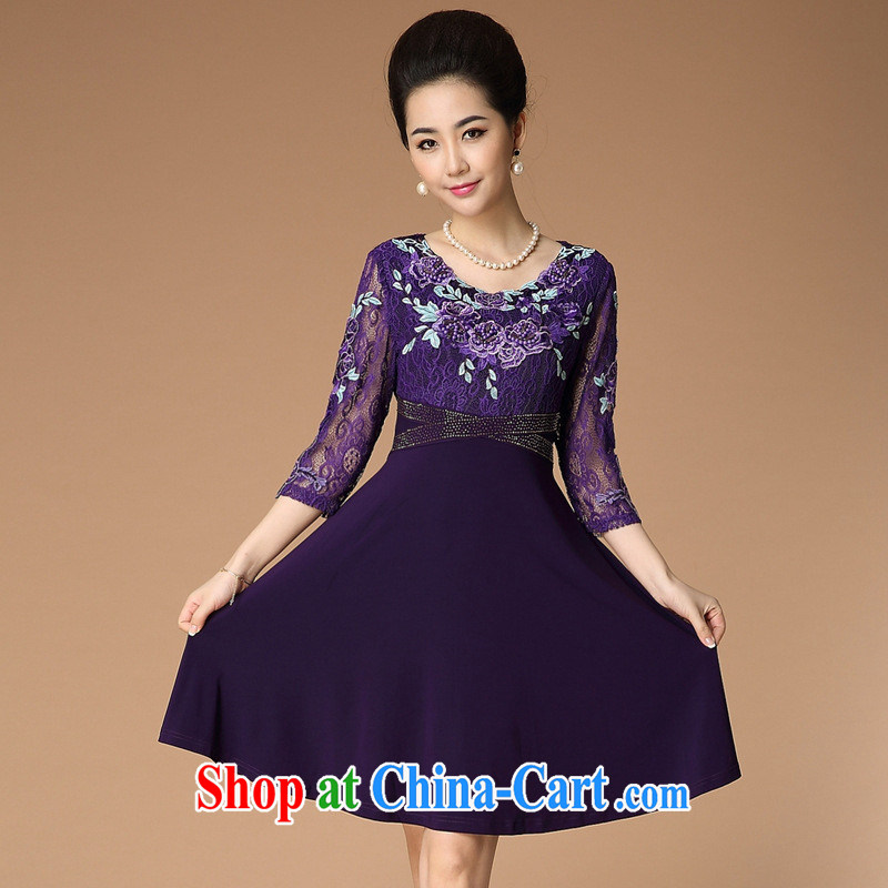 Women in Europe and the middle-aged and elderly mother with her waist hot drill dresses composite lace embroidery summer new, my mother-in-law loaded purple XXL