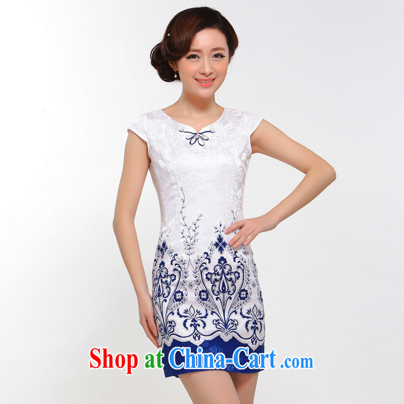Summer fashion 2015 new improved sexy beauty retro upscale lace cheongsam dress white L