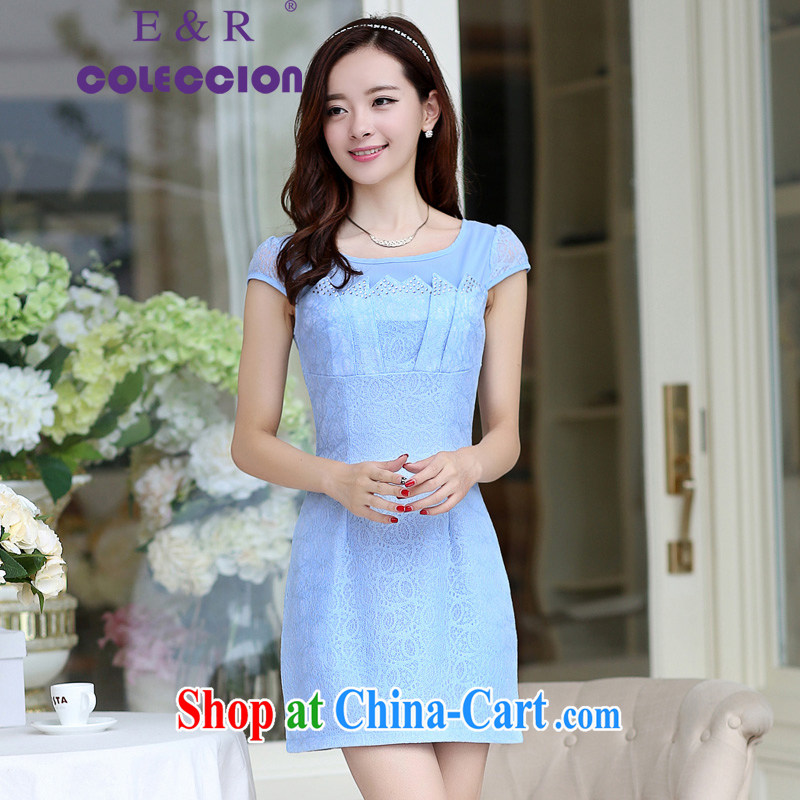 Retro Beauty Fashion improved sense of Korea cheongsam dress daily outfit Spring Summer 2015 new dresses blue XXL