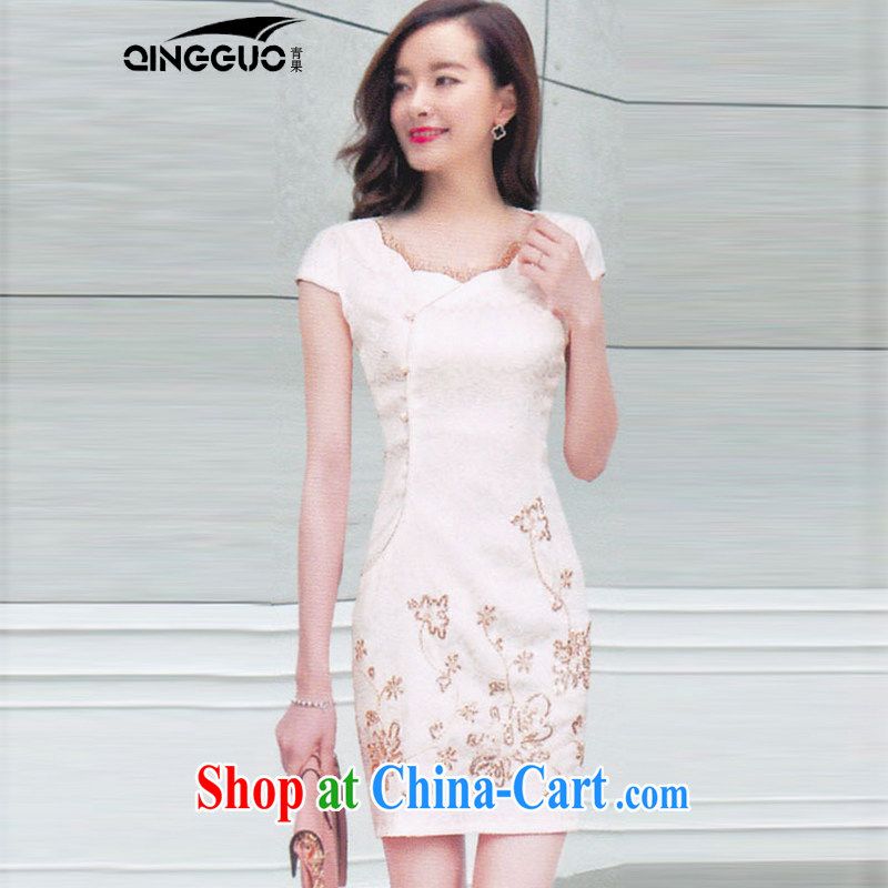 Fruit and Vegetable 2015 new stylish dresses embroidery jacquard cotton cultivating the flap cheongsam dress 1588 apricot XL