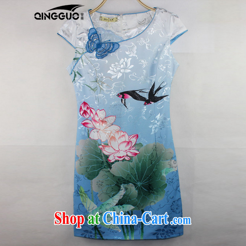 Fruit 2015 new dresses stylish Lotus the gradient improved fashion cheongsam dress stylish beauty 1569 color blue XXL