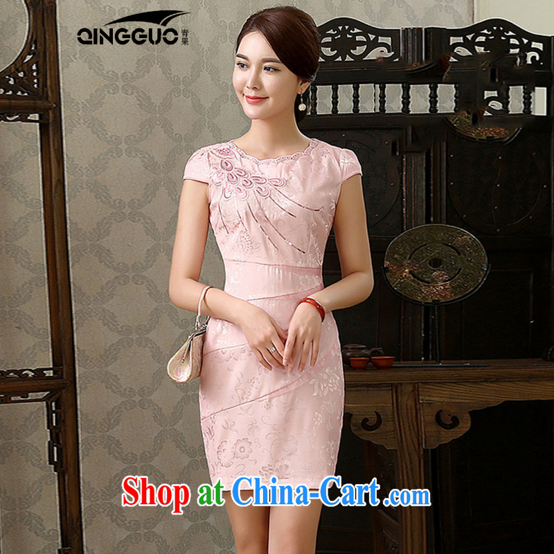 Fruit 2015 new cheongsam dress stylish improved aura beauty short embroidery cheongsam dress dress 1587 pink XXL
