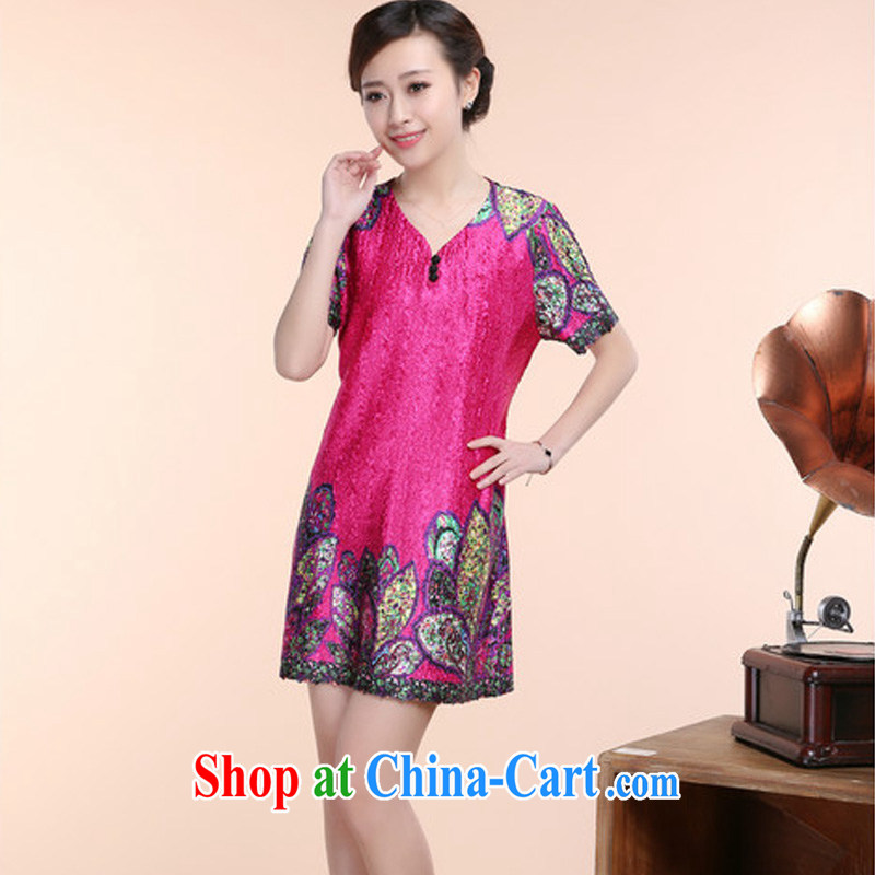 Forest narcissus summer 2015 New Silk wrinkled ethnic wind relaxed MOM dresses with short-sleeved V receipts waist dress jacket XYY - 8510 the purple XXXXXL