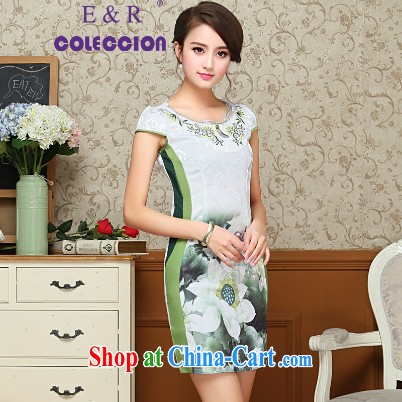 Improved stylish 2015 spring and summer New Beauty video thin short, short-sleeved improved cheongsam dress green XXL