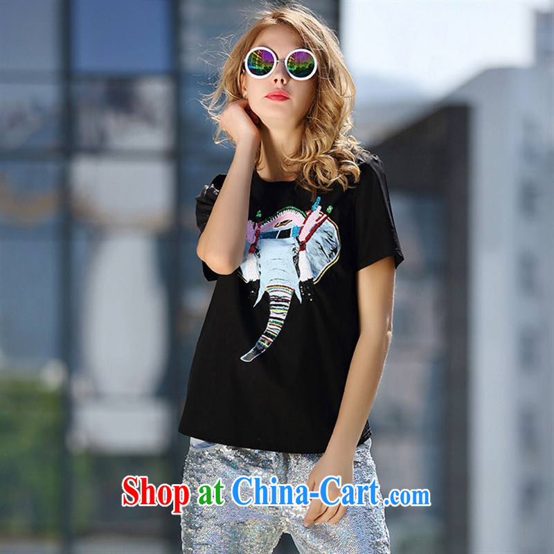 Ya-ting store A Europe 4991 the 2015 summer new female animal elephant pattern, put the short-sleeved shirt T white L