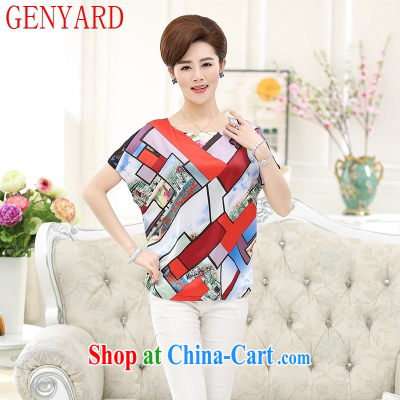 Qin Qing store 2015 spring and summer new female short-sleeved silk sauna T silk shirt mother in older T-shirt, blue XXXXL article