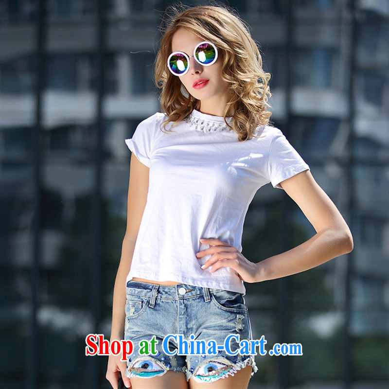 Ya-ting store A 4988 Europe the Summer 2015 new casual women with round-collar short-sleeved staple Pearl inserts drill solid color beauty T pension white L