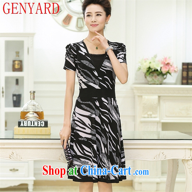 Qin Qing store 201,515 summer new, large, snow-woven dresses summer MOM load the older skirt sauna silk dress black XXXL
