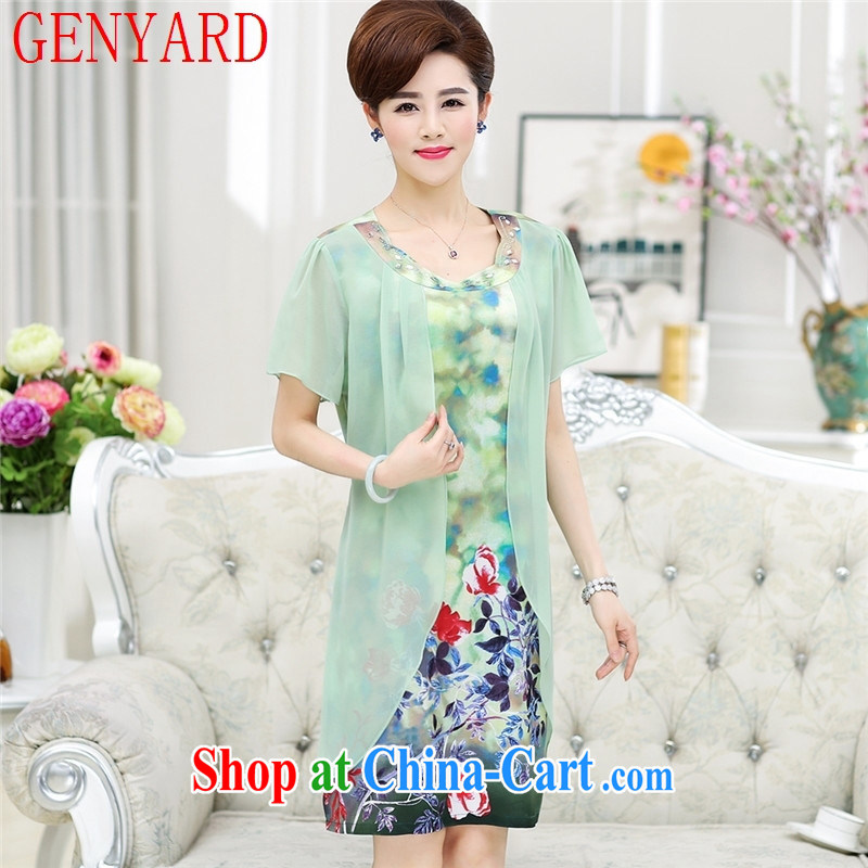 Qin Qing Store New Products 2015 summer new, older women with Korean short-sleeved leave two stamp Silk Dresses girls and color XXXL