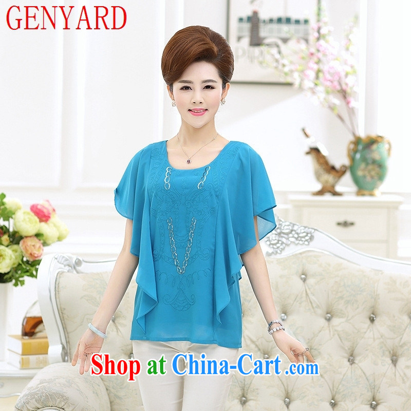 Qin Qing store in 2015 older mom with summer silk short-sleeved T-shirt girls large code stamp the edge short-sleeved T-shirt, blue and XXXL