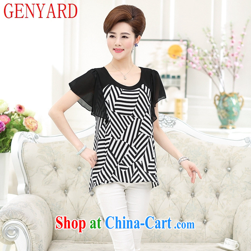Qin Qing store 2015 new summer, older streaks round-collar T 桖 relaxed casual mom with T-shirt, black-and-white XXXXL