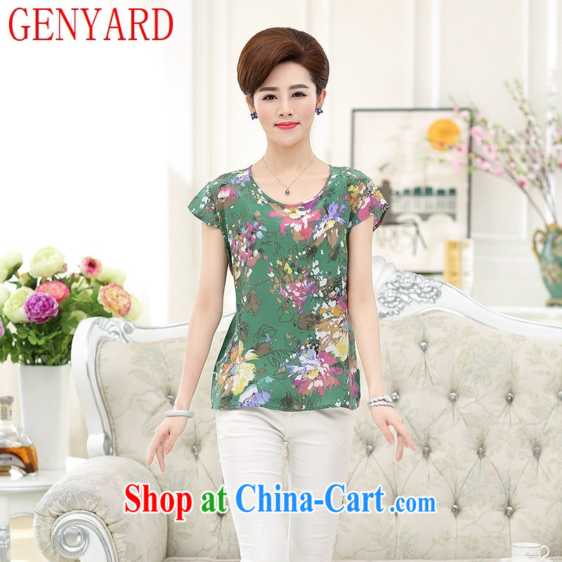 Qin Qing store older women summer silk mother with Sauna silk short-sleeved T shirts Women's T-shirt XL, first floor spend XXXL