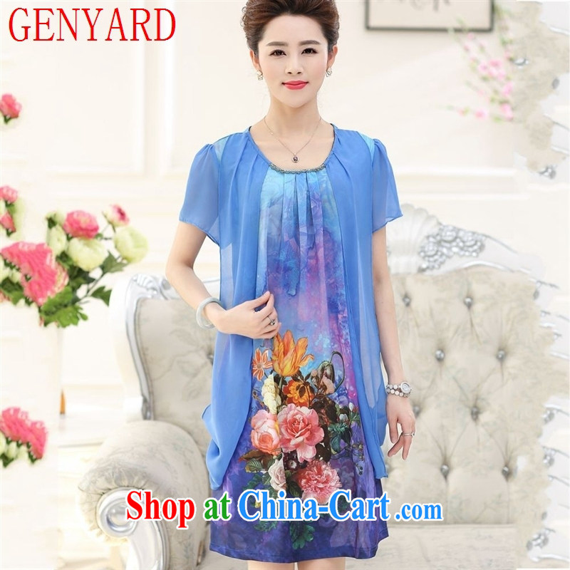 Qin Qing store 2015 new, older women Women's Version Stamp round-collar, long, emulation, the code dress blue XXXL