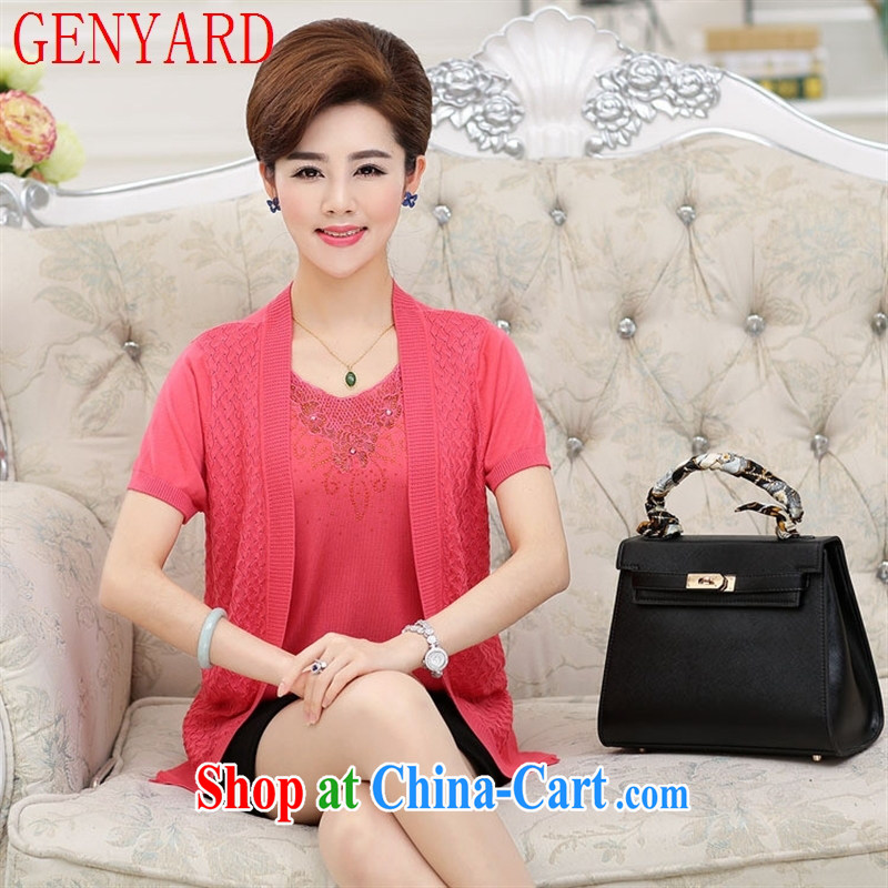 Qin Qing store 2015 new, middle-aged and older women wear summer new mom with middle-aged female short-sleeve loose cardigan leave two-piece green 120