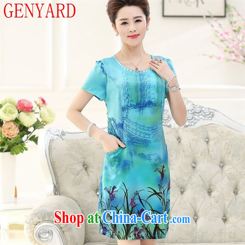 Qin Qing store female round-collar, long, large, cultivating her mother in the Old Summer new stamp emulation, dress blue lake XXXL