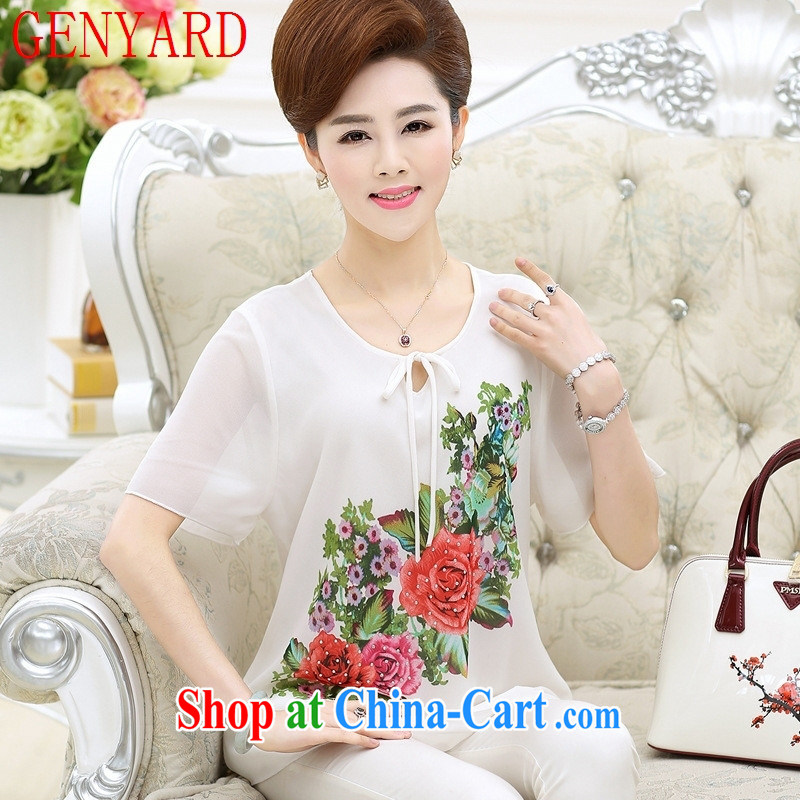 Qin Qing store middle-aged and older mothers with Summer Snow woven short-sleeved T-shirt female middle-aged female large code stamp duty sauna silk short-sleeved T-shirt black 4XL