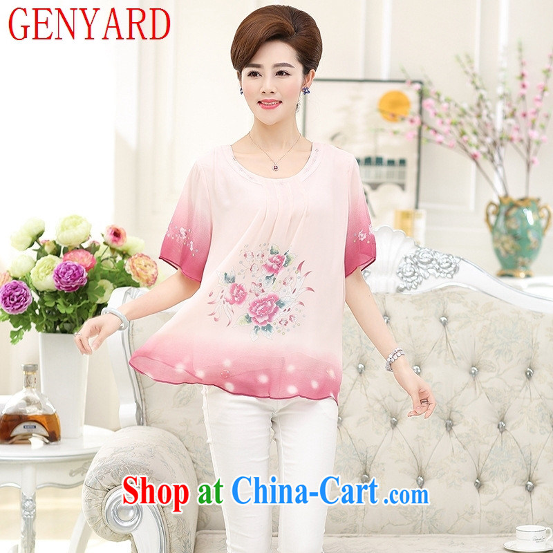 Deloitte Touche Tohmatsu store sunny summer 2015 new middle-aged mother with a short-sleeved silk shirt large code sauna silk shirt T middle-aged and older female pink XXXXL