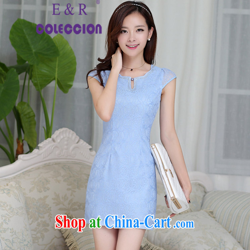 Dresses 2015 new spring and summer retro improved cultivating graphics thin cheongsam dress short cheongsam blue XXL