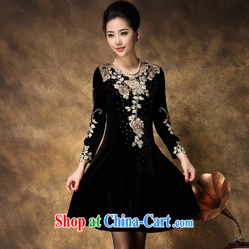 94 the calls made embroidered knitted long-sleeved dresses larger OL middle-aged mother with 2014 autumn and winter, picture color XXL